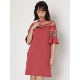 フラワー刺繍ミニワンピース (ピンク)