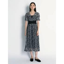 ウエストクロスラメレースドレス (BLK)