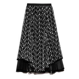 チュール刺繍スカート (BLK)