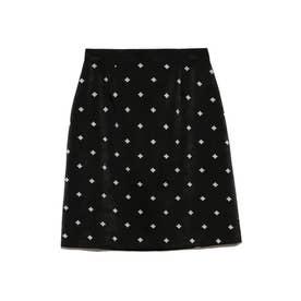小紋刺繍スカート (BLK)