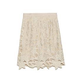 フラワー刺繍ミニスカート (BEG)