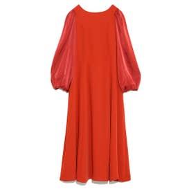 異素材ボリュームワンピース (RED)