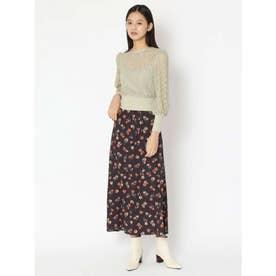 花柄ロングスカート (BLK)