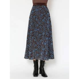 フラワーフロッキースカート (BLU)