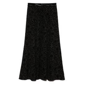 フラワーフロッキースカート (BLK)
