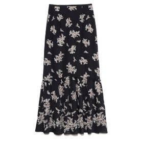 フラワー刺繍ロングスカート (NVY)