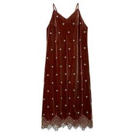 ベロア刺繍キャミワンピース (BRW)