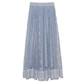 バタフライレースロングスカート (BLU)