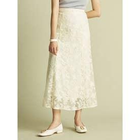 フラワーチュール刺繍スカート (OWHT)