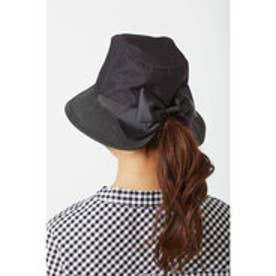 異素材遣いの  後ろリボンUVカット帽子 (ブラック)