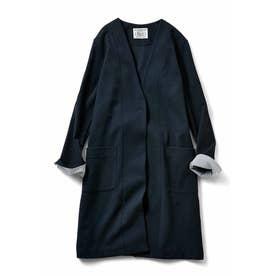 さっとはおってきちんと見えする ほどよい厚みの カットソーロングジャケット (ネイビー)