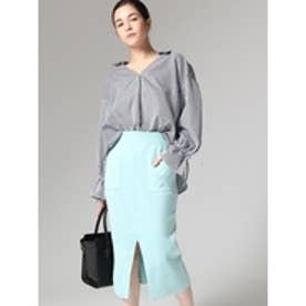 ポケット付きニットスカート ブルー