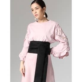 フリルスリーブ刺繍トップス ピンク