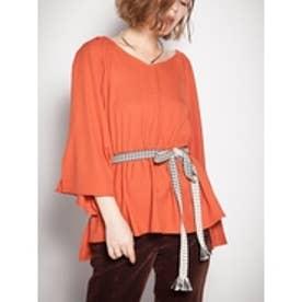 刺繍ベルト付きオフショルブラウス (オレンジ)