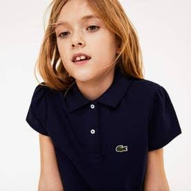 GIRLS スカラップカラー ミニピケポロシャツ (ネイビー)