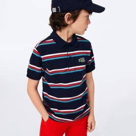 Boys バッジロゴストライプデザインポロシャツ (ネイビー)