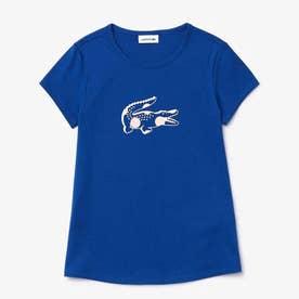 Girls プリントデザインクルーネックTシャツ (ブルー)