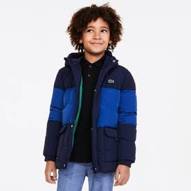 BOYSツートーンキルティングフードジャケット (ブルー)
