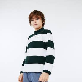 BOYSソフトストライプポロシャツ (ホワイト×グリーン)