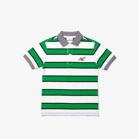 BOYSボーダーポロシャツ (ホワイト×グリーン)