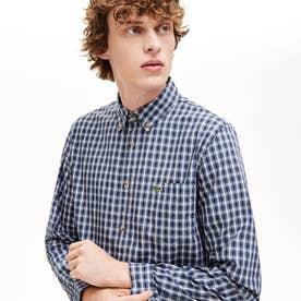 オックスフォードチェックボタンダウンシャツ (ブルー)