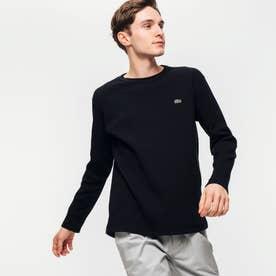 ワッフルクルーネックロングTshirt (ブラック)