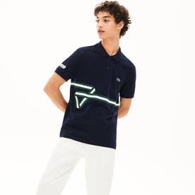 レギュラーフィット ストライププリントポロシャツ(半袖) (ネイビー)
