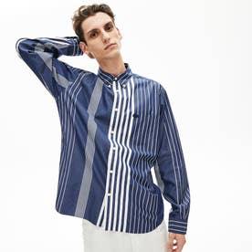 リラックスフィット コントラストストライプボタンダウンシャツ (ダークブルー)