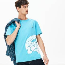レギュラーフィット オーバーサイズワニプリントクルーネックTシャツ (ライトブルー)