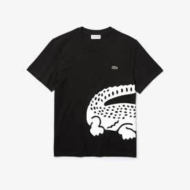 レギュラーフィット オーバーサイズワニプリントクルーネックTシャツ (ブラック)