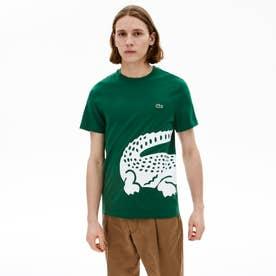 レギュラーフィット オーバーサイズワニプリントクルーネックTシャツ (グリーン)