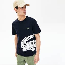 レギュラーフィット オーバーサイズワニプリントクルーネックTシャツ (ネイビー)