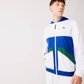 カラーブロック撥水ジップジャケット (ホワイト×ブルー)