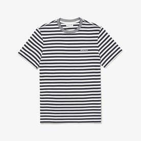 細ボーダーLACOSTEエンブレムTシャツ (ホワイト)