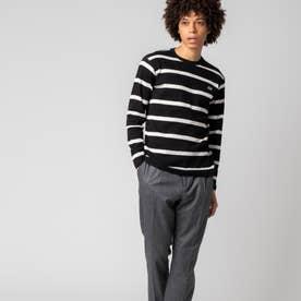 ワッフルボーダーTシャツ (ブラック)