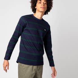 ワッフルボーダーTシャツ (ネイビー)