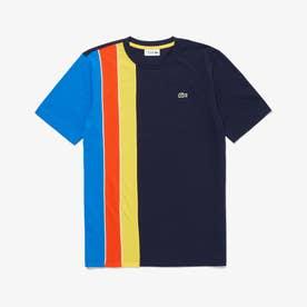 トリプルカラーストライプクルーネックTシャツ (ネイビー)