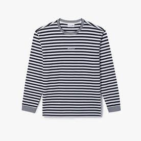 ボーダークルーネックロングTシャツ (ホワイト)