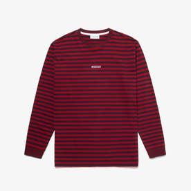 ボーダークルーネックロングTシャツ (レッド)