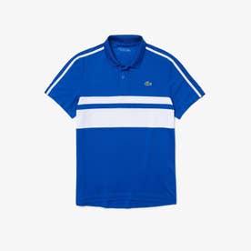 パネルボーダーテニスポロシャツ (ブルー)