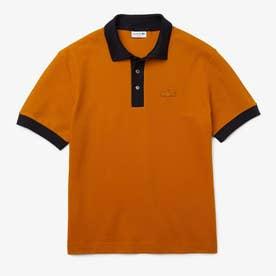 リブ配色ワイドポロシャツ (ブラウン)