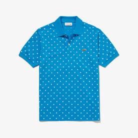 ポルカドットミニ鹿の子ポロシャツ (ブルー)