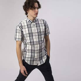 2トーンチェックボタンダウンシャツ (ホワイト)
