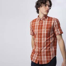 2トーンチェックボタンダウンシャツ (ブラウン)