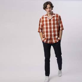 ブロックチェックオープンカラーシャツ (ブラウン)