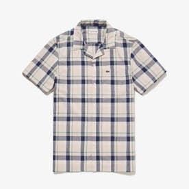 オープンネックチェックシャツ (ピンクベージュ)