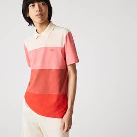 フロントパネルボーダーポロシャツ (ピンク)