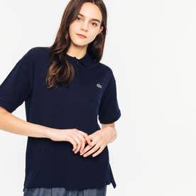 ルーズフィットストレッチピケポケットポロシャツ (半袖) (ネイビー)