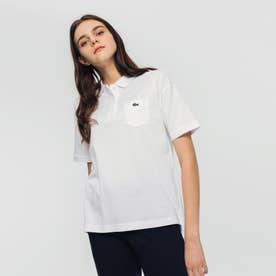 ルーズフィットストレッチピケポケットポロシャツ (半袖) (ホワイト)