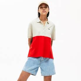 リラックスフィットカラーブロック軽量ピケポロシャツ (半袖) (レッド)